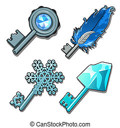 Set of fancy keys isolated on a white background. Vector illustration.