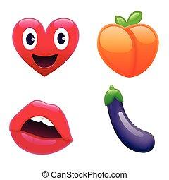 Set of Fantastic Smiley Emoticons, Emoji Design
