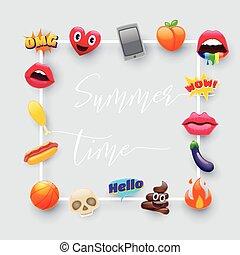 Set of Fantastic Summer Time Emoticons Emoji