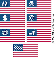 set of fantasy american flags