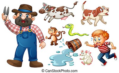 Set of fantasy cartoon character and animal isolated on white background
