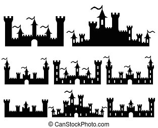 Set of Fantasy castles silhouettes for design. Vector