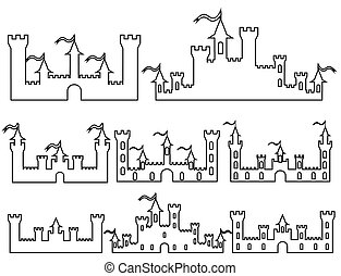 Set of Fantasy castles silhouettes for design. Vector