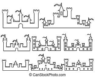Set of Fantasy castles silhouettes for design. Vector i