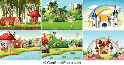 Set of fantasy landscape