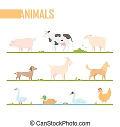 Set of farm animals - modern vector cartoon isolated...