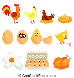 Set of farm animals, vector stickers with chicken family on...