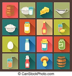 set of farm food icons in flat - vector set of sixteen farm...