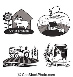 Set of farm fresh emblems, badges and design elements