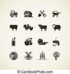 Set of farm icons - farm animals, food and drink production,...