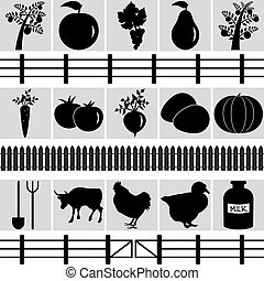 Set of farm production icons.