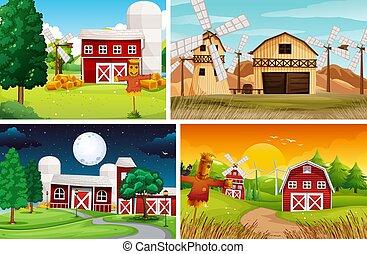 Set of farm scene cartoon style
