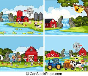 Set of farm scenes illustration