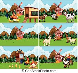 Set of farm scenes with animals