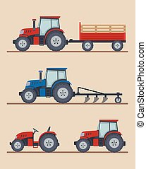 Set of farm tractors isolated on beige background.