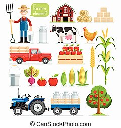 Set of farmer element. Farmer and Farm animals. Vector illustrations.