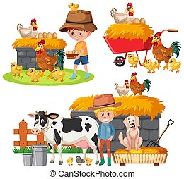Set of farmers and farm animals on white background