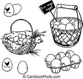 Set of farmer?s eggs drawings, vector illustration