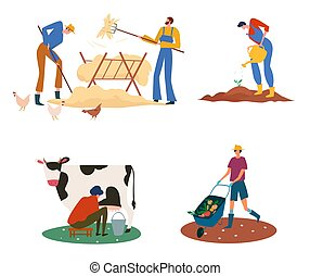 Set of farmers or agricultural workers on the farm with domestic animals.