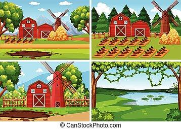 Set of farmland landscape