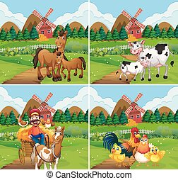 Set of farmland scene illustration