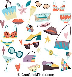 Set of fashion elements, accessories, clothes.