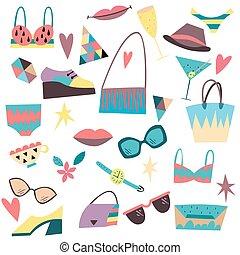 Set of fashion elements, accessories, clothes