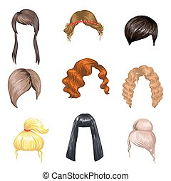 Set of fashion female hair styles. Colored hair: brunette,...