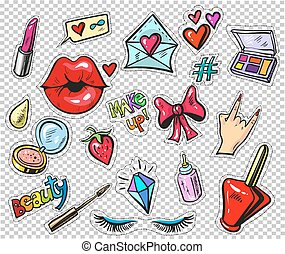 Set of fashion stickers, pins, patches in cartoon 80s-90s comic style. pop art