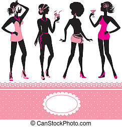Set of fashionable girls silhouettes on a white background. Party or holiday design elements.
