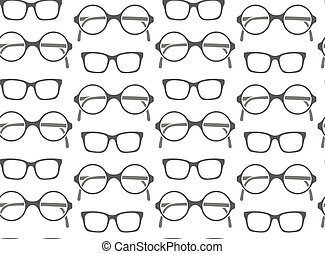 Set of fashionable glasses silhouettes seamless background