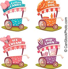 Set of fast food carts. Ice cream, cotton candy, pop corn,...