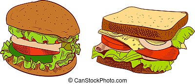 Set of fast food hand drawn VECTOR illustration on blue background. Sandwich, burger.