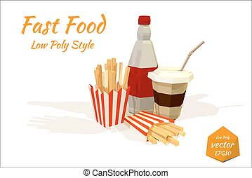 Set of fast food items. Low Poly