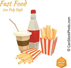 Set of fast food items. Vector
