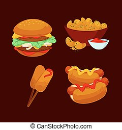 Set of fast food meals. Collection  cartoon snack icons