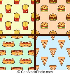 set of fast food seamless patterns kawaii characters. Flat design Vector