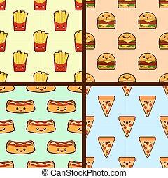 set of fast food seamless patterns kawaii characters. Flat design Vector
