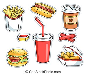 Set of fast food stickers