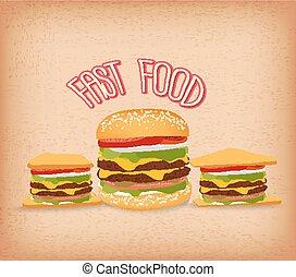 set of fast food with hamburger
