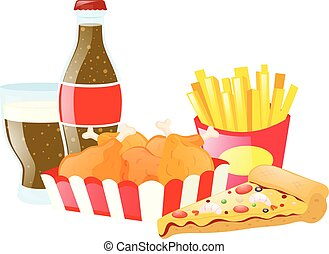 Set of fastfood with pizza and soda