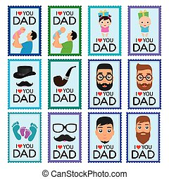Set of father's day stickers