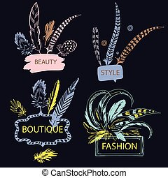 Set of feather with frame. Hand drawn vector illustration....