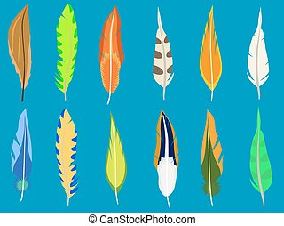 Set of feathers. Isolated on blue.