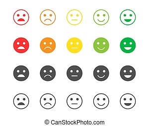 Set of feedback rating of red, orange, yellow and green emoticons, vector smile emoji in different colors, icons for your design, website and forms, vector illustration