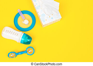 Set of feeding accessories for infant baby. Baby food concept