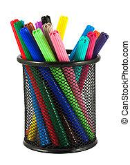 Set of felt-tip pens of different colors in holder