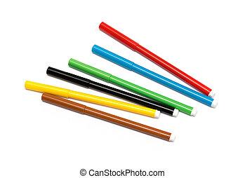 set of felt-tip pens of different colors