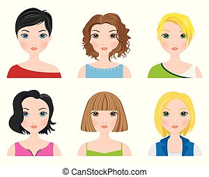 Set of female avatars with short hair