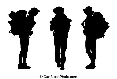 3 black silhouettes of female backpackers waking and standing, carrying big tourist bags